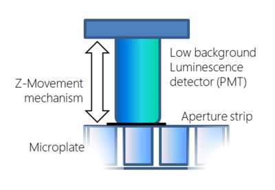 Direct luminescence is performed from photomultiplier tubes